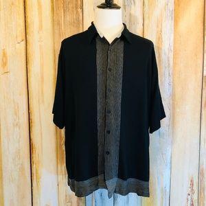 Visitor Black Silk-Blend Camp/Bowling Shirt 4X EUC